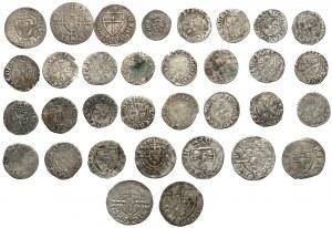 Zakon Krzyżacki, duży zestaw szelągów i kwartników (33szt)