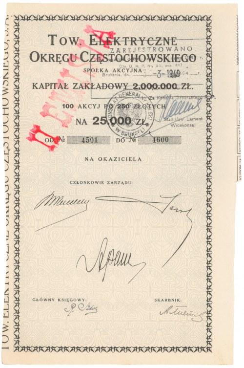 Tow. Elektryczne Okręgu Częstochowskiego, 100x 250 zł