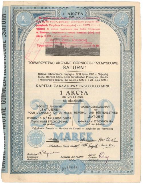 Tow.Akcyjne Górniczo-Przemysłowe SATURN, 2.500 mk 1921