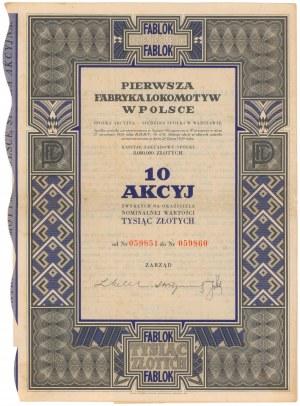 Pierwsza Fabryka Lokomotyw w Polsce, 10x 100 zł 1938