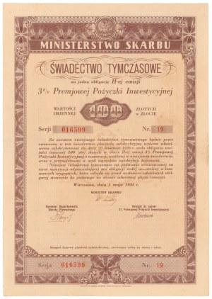 3% Premiowa Poż. Inwestycyjna 1935, Świadectwo tymczasowe 100 zł 1935