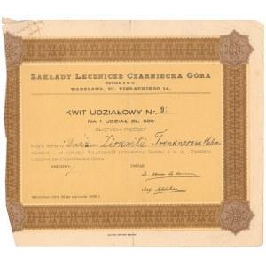 Zakłady Lecznicze Czarniecka Góra, Udział na 500 zł 1938