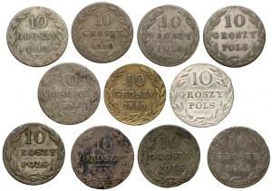 Królestwo Polskie, 10 groszy - zestaw (11szt)