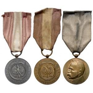 II Rzeczpospolita, zestaw odznaczeń za długoletnią służbę (3szt)