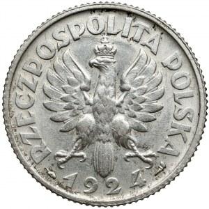 Kobieta i kłosy 1 złoty 1924 - efektowny DESTRUKT
