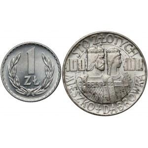 Próba SREBRO 100 złotych 1966 Mieszko i 1 złoty 1949 (2szt)