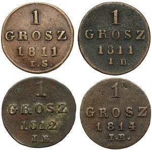 Księstwo Warszawskie, 1 grosz 1811-1814 - zestaw (4szt)