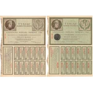 Państwowa Pożyczka Premjowa, Obligacje na 1.000 mkp 1920 - zestaw (2szt)