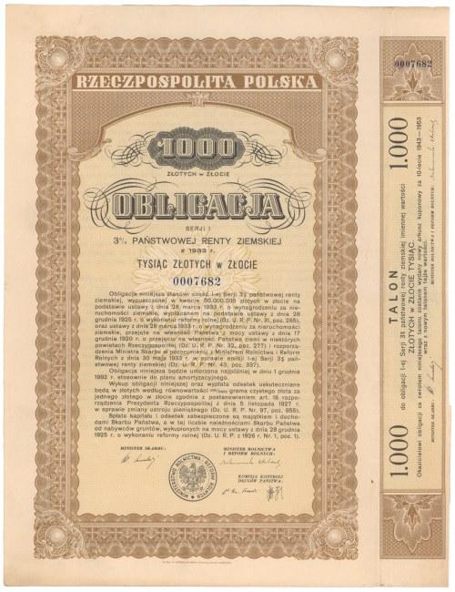 3% Państwowa Renta Ziemska 1933, Obligacja 1.000 zł