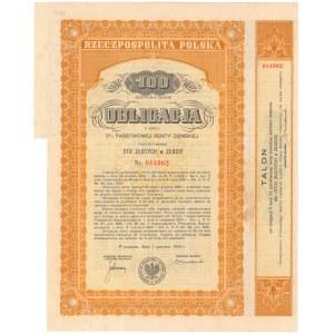 3% Państwowa Renta Ziemska 1936, Obligacja na 100 zł