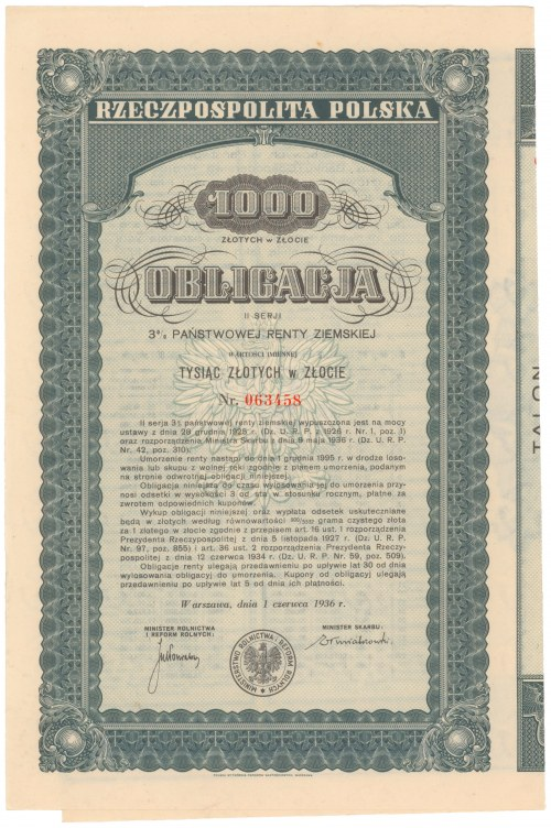 3% Państwowa Renta Ziemska 1936, Obligacja na 1.000 zł