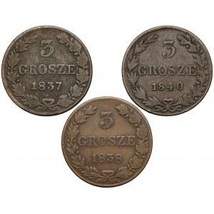 3 grosze 1837, 1838 i 1840 MW (3szt)