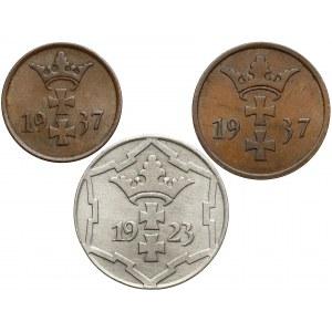Gdańsk - 1, 2 i 10 fenigów, zestaw (3szt)