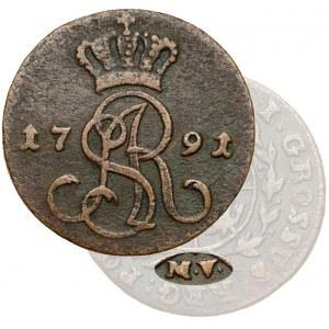 Poniatowski, Grosz 1791 M.V. - Mennica Warszawska - rzadkie