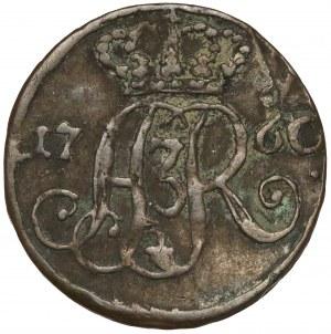 August III Sas, Szeląg Toruń 1760 DB - data przy monogramie