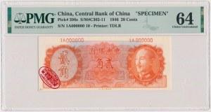 China, 20 Cents 1946 - SPECIMEN - 1A000000