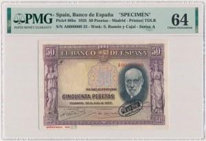 Spain, 50 Pesetas 1935 - SPECIMEN - A 0000000
