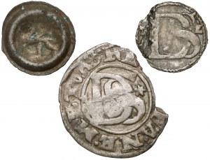 Pomorze, Brakteat, szeląg podwójny i fragment szeląga podwójnego- zestaw (3szt)