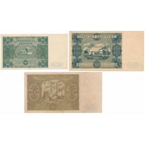 20, 500 i 1.000 złotych 1947 - zestaw (3szt)
