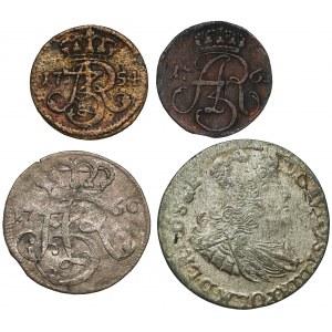 August III Sas, GDAŃSK, od szeląga do szóstaka - zestaw (4szt)