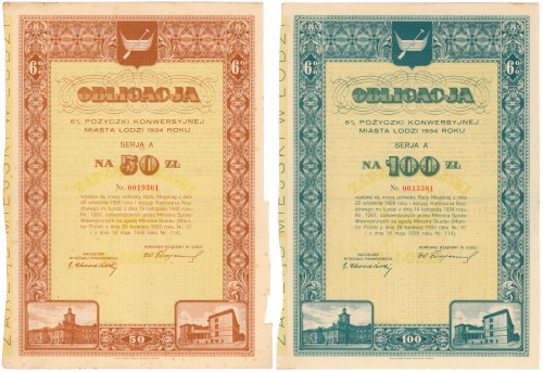Łódź, 6% Pożyczka Konwersyjna 1934, Obligacja 50 i 100 zł (2szt)