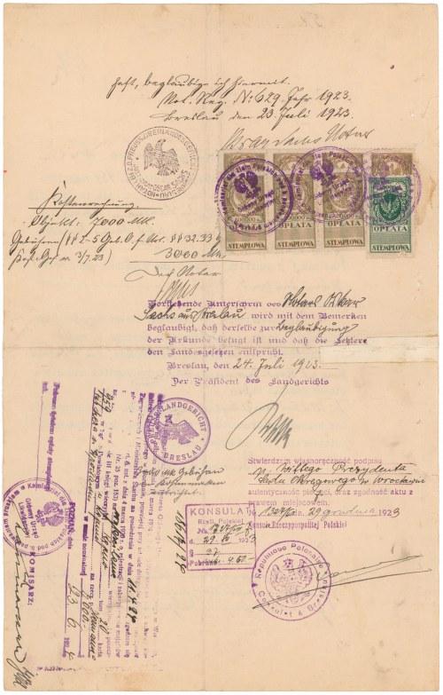 Breslau (Wrocław) - dokument urzędowy z roku 1923 - liczne stemple i znaczki opłaty skarbowej