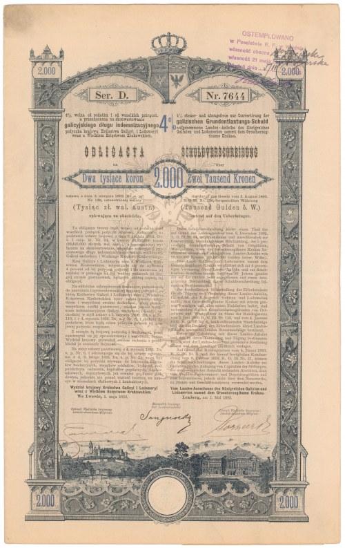 Lwów, Poż. Królestwa Galicyi i Lodomeryi... 1893 r. Obligacja na 2.000 koron