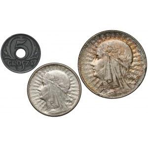 2 i 5 złotych 1934 Głowa Kobiety + 5 groszy 1939 GG (3szt)