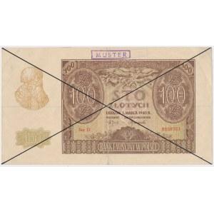 100 złotych 1940 - stempel MUSTER - czarne skreślenia