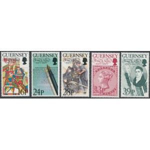 Znaczki Guernsey 1993 - 200-rocznica urodzin T. De La Rue - folderze (5szt)