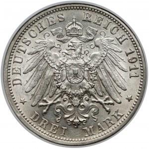 Württemberg, 3 mark 1911 F