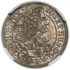 Śląsk, Józef I, 3 krajcary 1706 FN, Wrocław - b.ładny