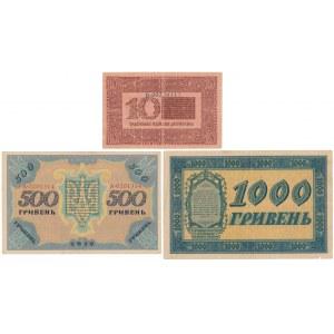 Ukraine, 10, 500 and 1.000 Hryven 1918 (3pcs)