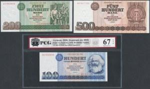 Germany, DDR, 100, 200 and 500 mark 1975-85 (3pcs)