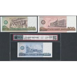 Niemcy, DDR, 100, 200 i 500 Mark 1975-85 (3szt)