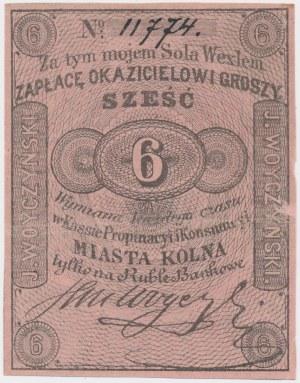 Kolno, Kasa Propinacji i Konsumpcji m. Kolna. J. Woyczyński, 6 groszy (XIX w.)