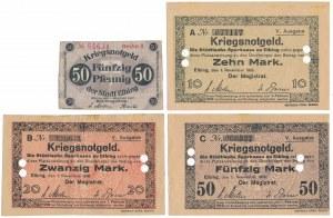 Elbing (Elbląg), 50 pfg 1917, 10, 20 i 50 mk 1918 (4szt)
