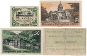 Landeck (Lądek Zdrój), 10, 25 i 2x 50 pfg 1920-21 (4szt)