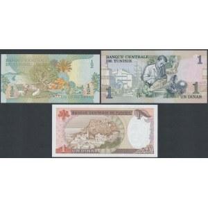 Tunisia, 1/2 and 2x 1 Dinar 1973-80 (3pcs)