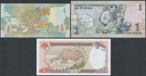 Tunezja, 1/2 i 2x 1 Dinar 1973-80 (3szt)