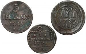 Rostock, 1 - 3 pfennig 1729-1855 - lot (3szt)