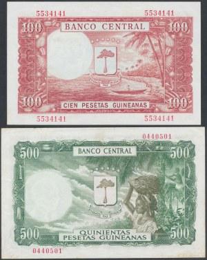 Equatorial Guinea, 100 & 500 Pesetas Guineanas 1969 = 1.000 & 5.000 Bipkwele 1980