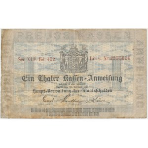 Germany, Kingdom of Prussia - Hauptverwaltung der Staats-Schulden, 1 Thaler 1861
