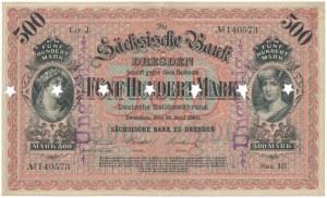 Niemcy, Drezno, 500 Mark 1890 - UNGILTIG - perforacja