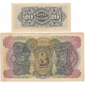 Mozambique, 20 Centavos i 5 Libras 1933-34 (2pcs)