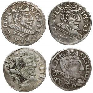 Trojaki (1590-1600) Zygmunt III - zestaw (4szt)