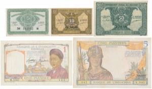 French Indo-China, 5 Cents - 5 Piastres (1936-46) - set of 5 pcs