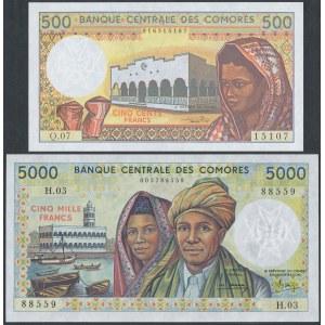 Comoros, 500 & 5.000 Francs (1984-94) - set of 2 pcs