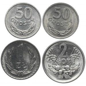 PRL, od 50 groszy do 2 złotych 1971-1972 (4szt)