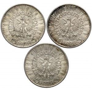 5 złotych 1938 Piłsudski - rzadkie i piękne (3szt)